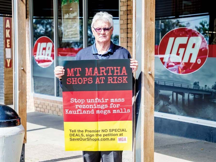 Rod Allen gets his message about Kaufland across. Image Credit - Yanni. First Published - Mornington News